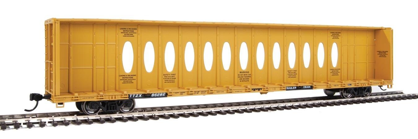 WalthersMainline 4832 HO - 72Ft Centerbeam Flatcar with Opera Windows - Ready to Run - Trailer-Train TTZX #86369