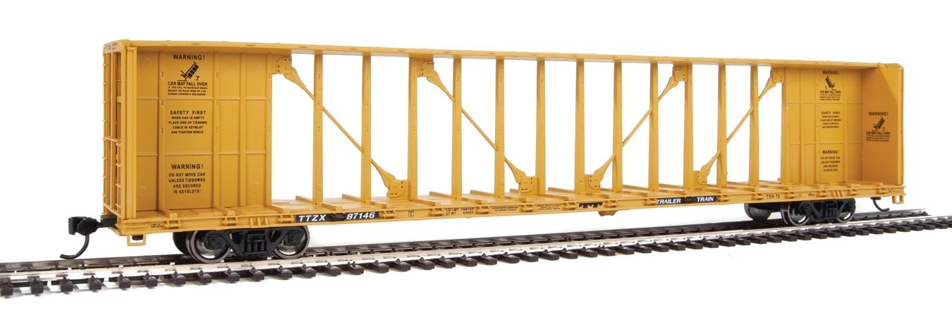 WalthersMainline 4836 HO - 72Ft Centerbeam Flatcar with Standard Beam - Ready to Run - Trailer-Train TTZX #87189