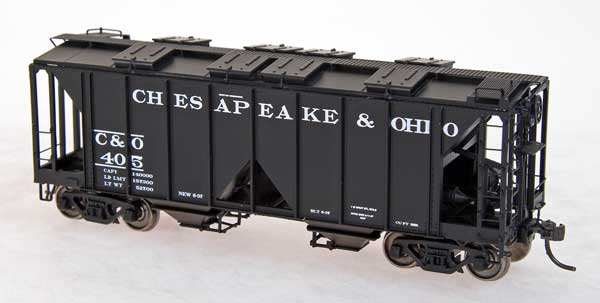 Intermountain 48601-05 HO - 1958 CU FT 2-Bay Covered Hopper - Open Sides - Chesapeake & Ohio #418