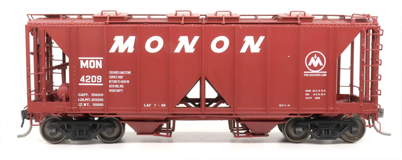 Intermountain 48662-06 HO 1958 Cu Ft 2 Bay Covered  Hopper- Open Sides - Monon #4330
