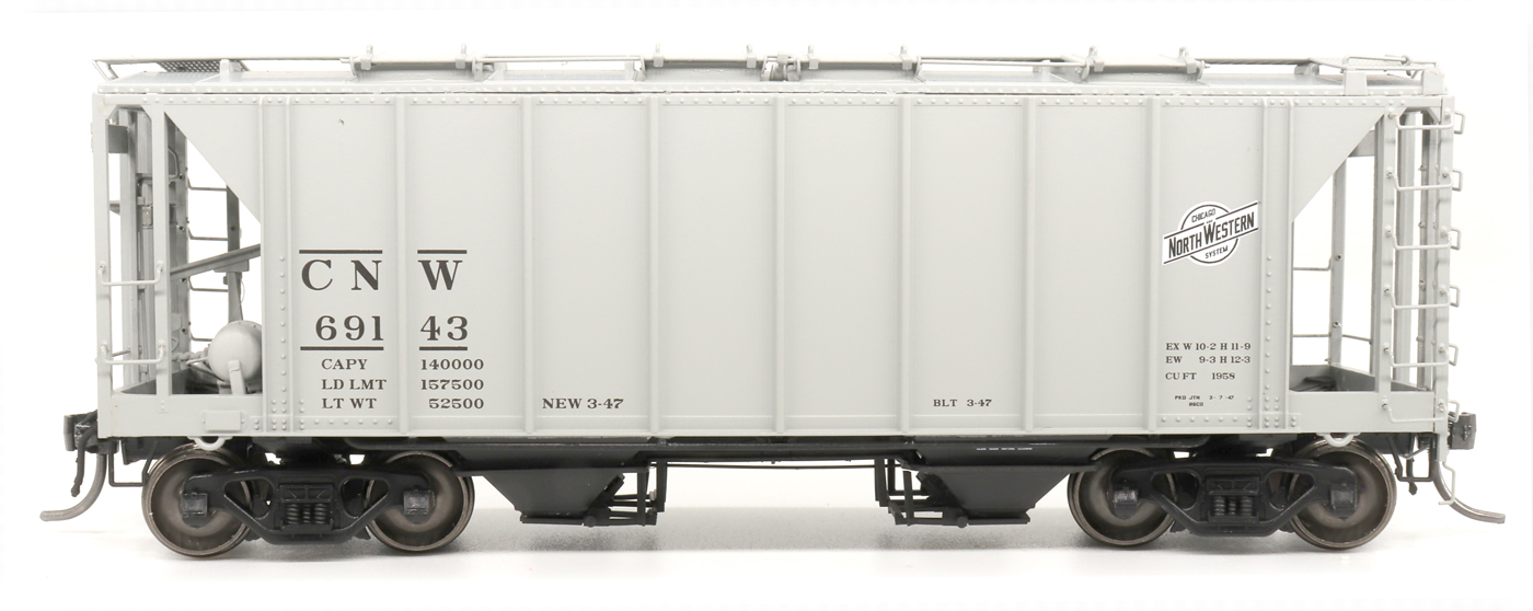 Intermountain 48687-05 HO 1958 Cu Ft 2 Bay Covered  Hopper- Closed Sides - Chicago and North Western #69321