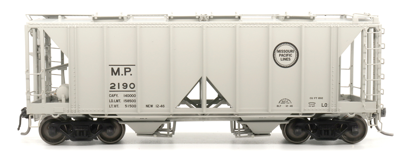 Intermountain 48688-04 HO 1958 Cu Ft 2 Bay Covered  Hopper- Open Sides - Missouri Pacific #2185