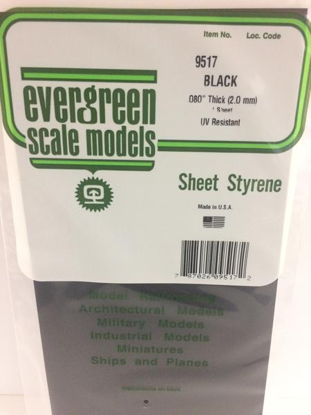 Evergreen Scale Models 9517 - Plain Opaque Black Polystyrene Sheet .080In x 6In x 12In (1 pc pkg)