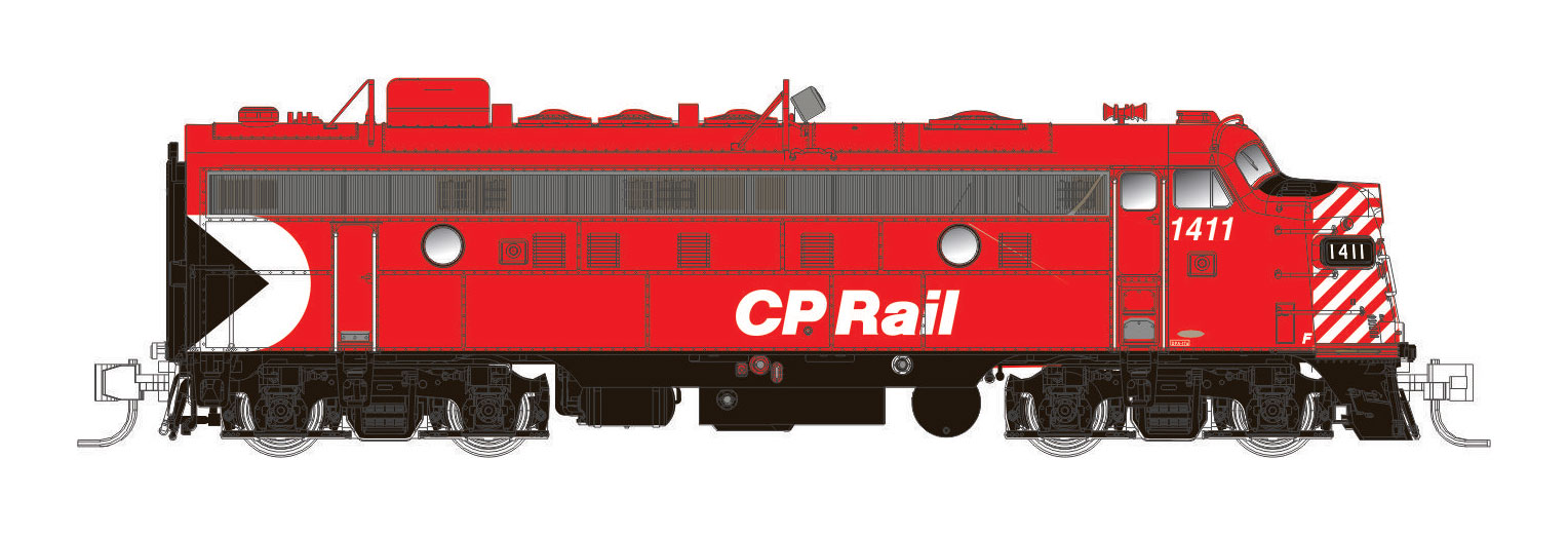 Rapido 530528 - N Scale CP FP9A - DC/DCC/Sound - CP Action Red - 5In Stripes #1407