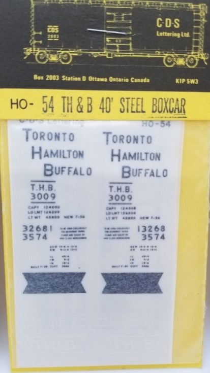 CDS Lettering 54 HO Scale - TH&B 40Ft steel box - Dry Transfer Lettering Sets - black and white herald; black lettering