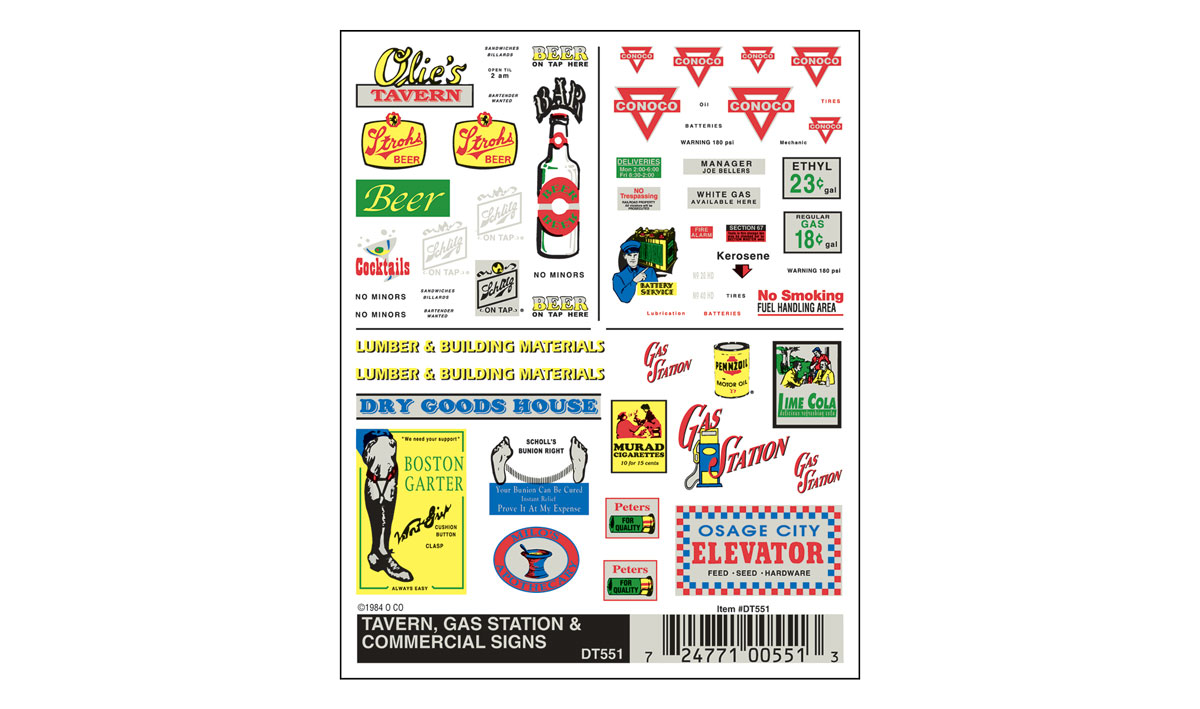 Woodland Scenics 551 HO Scale - Dry Transfer Signs - Tavern, Gas Station & Commercial