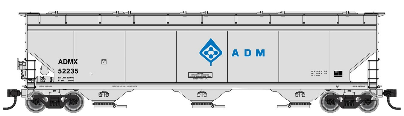 Walthers Mainline 7658 HO RTR - 60 ft NSC 5150 3-bay Covered Hopper - ADMX #52314