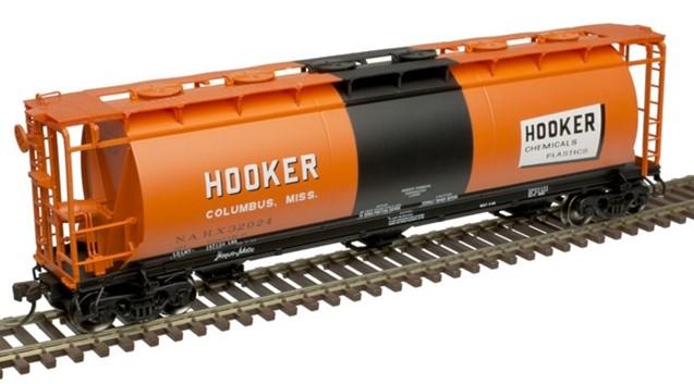 Atlas 20005777 - HO ACF 3-Bay Cylindrical Hopper - Hooker Chemical #31957