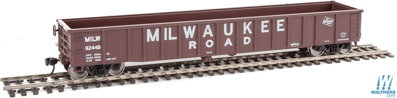 Walthers Mainline 6160 HO 53 Ft Thrall Smooth-Side Gondola - Milwaukee Road #92448