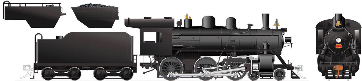 Rapido 603517 HO H-6-d/g Painted, Unlettered Wood Cab, Manual Reverser #1328 DC/DCC/Sound Pre-Order coming 2020