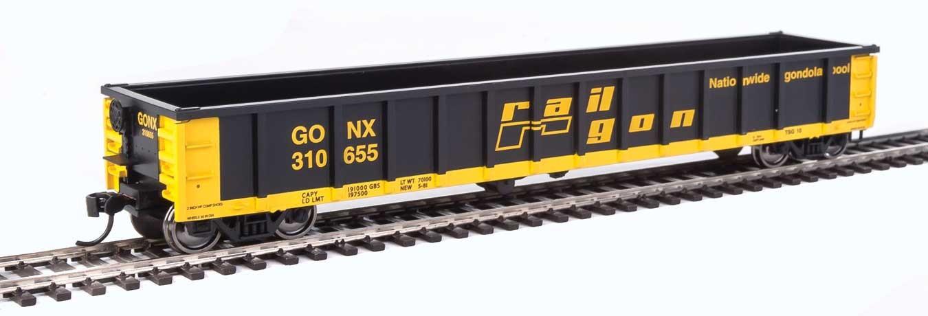 Walthers 6228 HO Scale - 53Ft Railgon Gondola - Ready To Run - Railgon GONX #310655
