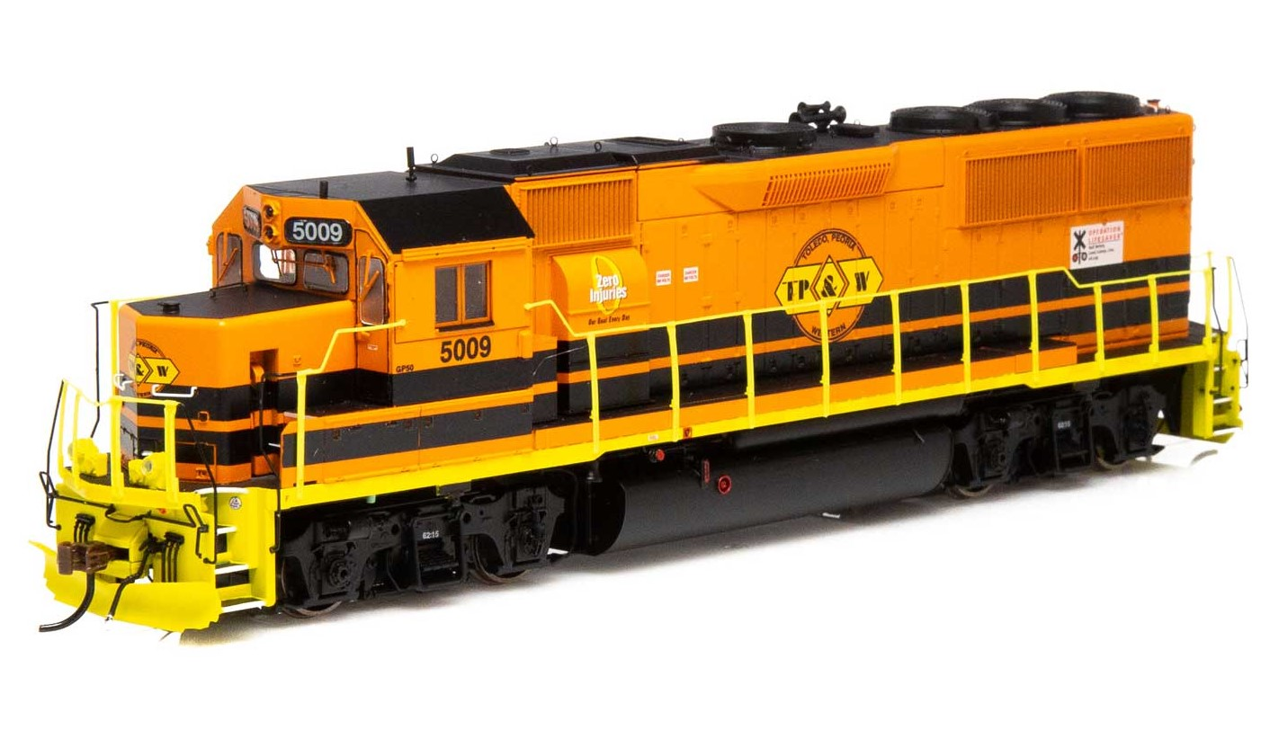 Athearn Genesis G65802 - HO GP50 Phase 1 - DCC & Sound - TP&W/ Orange & Black #5009