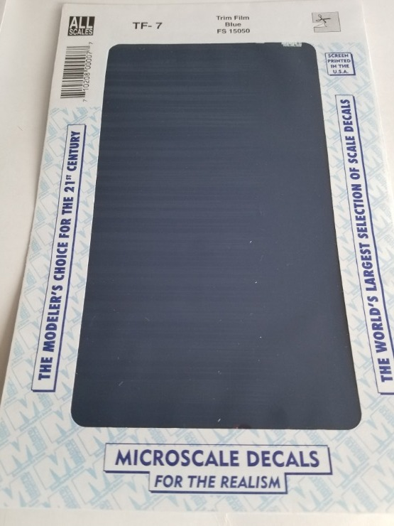 Microscale TF-7 - Trim Film - Blue 4½ in x 7½ inch sheet - Waterslide Decal