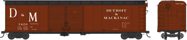 Bowser 41620 HO Class X32 Double-Door Round Roof 50 Ft Boxcar - Executive Line - Detroit & Mackinac #3430