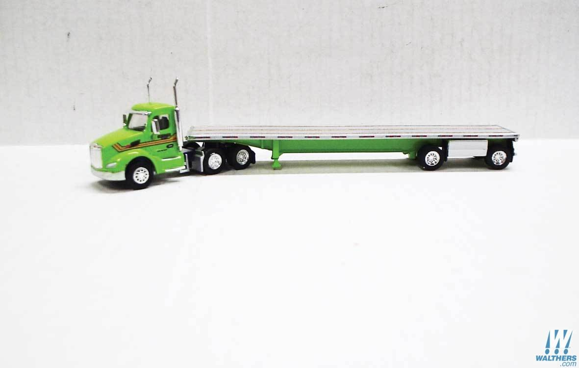 Otter Valley Railroad Model Trains Tillsonburg Ontario Canada Ho Scale Vehicles Trucks N Stuff Tns059 Ho Peterbilt 579 Daycab Tractor With Flatbed Trailer Assembled St Germain Green Silver