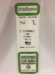 Evergreen Scale Models 754 - Opaque White Polystyrene Z Channel .125In x 14In (3 pcs pkg)