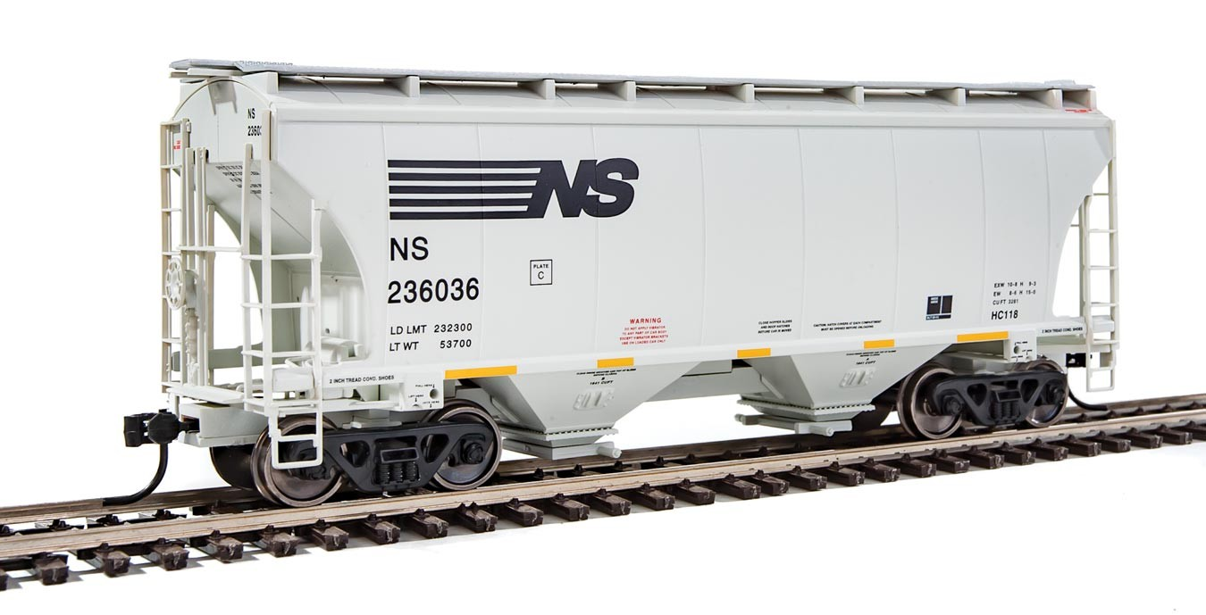 Walthers 7540 HO Scale - 39Ft Trinity 3281 2-Bay Covered Hopper - Norfolk Southern NS #236036