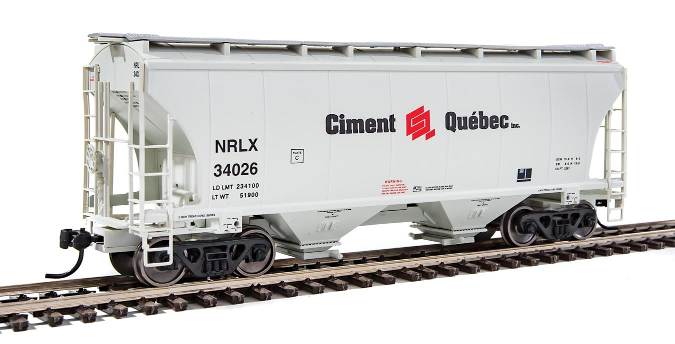 Walthers 7544 HO Scale - 39Ft Trinity 3281 2-Bay Covered Hopper - NorRail Ciment Quebec Inc. NRLX #34026