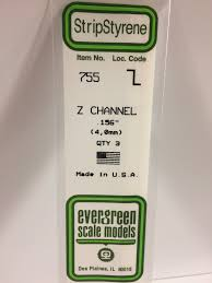 Evergreen Scale Models 755 - Opaque White Polystyrene Z Channel .156In x 14In (3 pcs pkg)