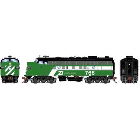 Athearn Genesis G19535 HO Scale - F9A EMD F-Unit Diesel - DCC & Sound - Burlington Northern #766