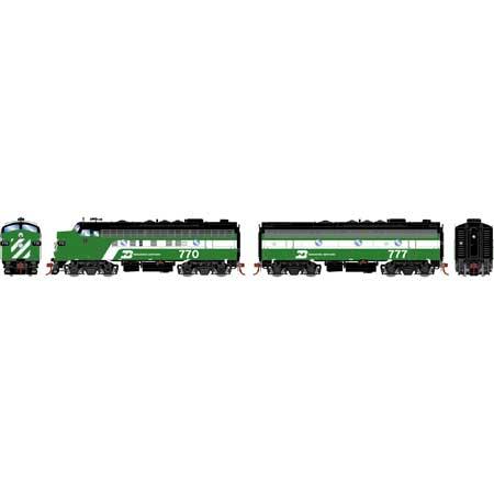 Athearn Genesis G19536 HO Scale - F9A/F7B EMD F-Unit Diesel - DCC & Sound - Burlington Northern #770/777