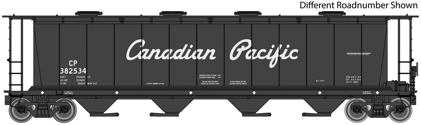 WalthersMainline 7814 HO scale - 59 Ft Cylindrical Hopper - Ready to Run - Canadian Pacific -Black w/ Script Name #382720