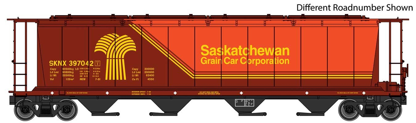 WalthersMainline 7831 HO scale - 59 Ft Cylindrical Hopper - Ready to Run - Saskatchewan Grain Car Corporation SKNX #397099