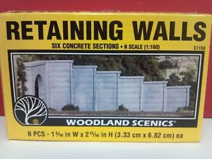 WoodLand Scenics 1158 N Scale Retaining Walls Six Concrete Sections