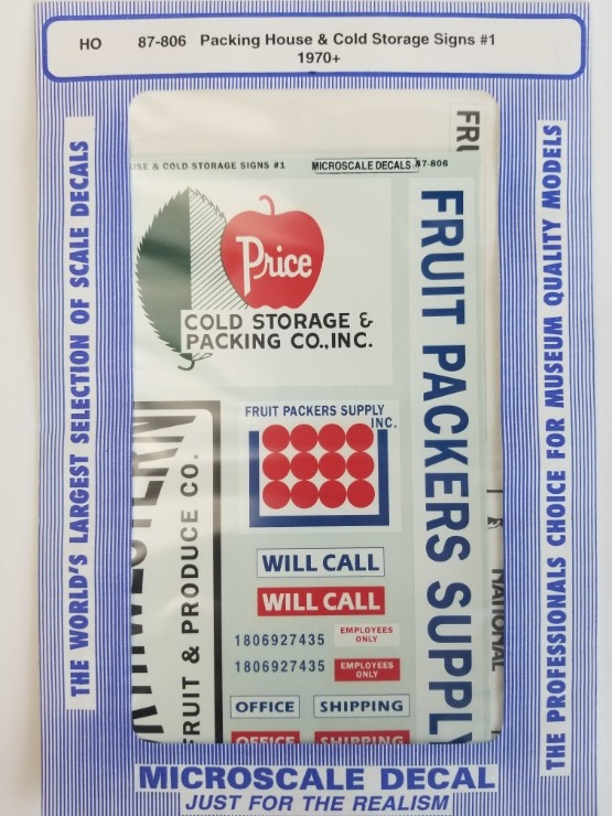 Microscale 87-806 HO Scale - Packing House & Cold Storage Signs #1, (1970+) Packing House & Cold Storage - Waterslide Decal