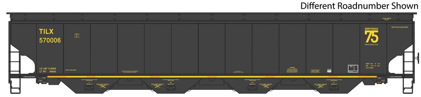 WalthersProto 105832 HO Scale - RTR 67Ft Trinity 6351 4-Bay Covered Hopper - Trinity Industries Leasing TILX - Black #570025