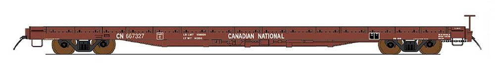 Intermountain 46421-02 HO 60ft Wood Deck Flat Car - Canadian National #667090