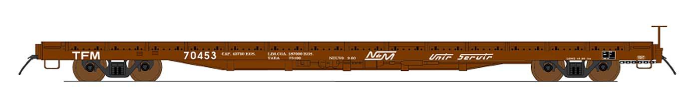 Intermountain 46424-06 HO 60ft Wood Deck Flat Car -Nacionales de Mexico #70520