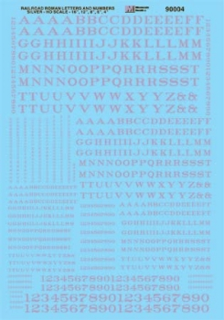 Microscale 90004 HO Scale - Alphabets - Railroad Roman - Silver - Waterslide Decal