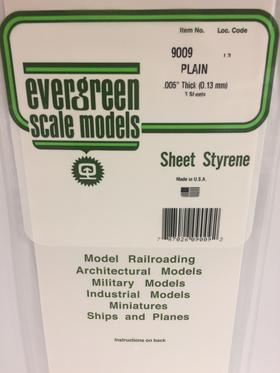 Evergreen Scale Models 9009 - .005in Plain Opaque White Polystyrene Sheet (3 Sheets)