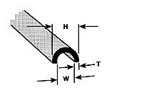 Plastruct Butyrate Half Round Profile 3/16 (4pcs pkg)