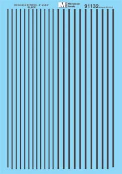 Microscale 91132 HO Scale - Stripes - 4 and 6 inch widths - Black Waterslide Decal