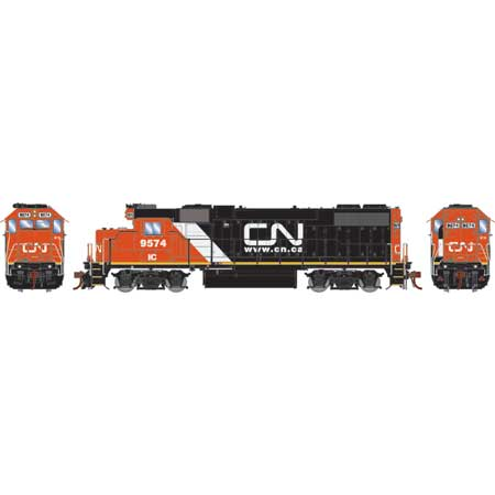 Athearn Genesis G68855 HO Scale - GP38-2 - DCC & Sound - Canadian National/IC w/Web site logo #9574