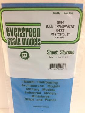 Evergreen Scale Models 9902 - .010in Blue Transparent Polystyrene Sheet (2 Sheets)