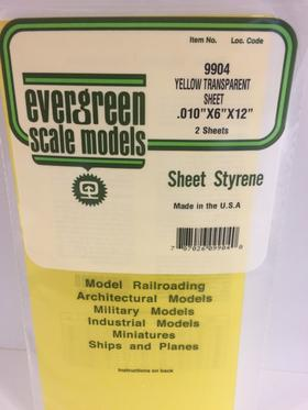 Evergreen Scale Models 9904 - .010in Yellow Transparent Polystyrene Sheet (2 Sheets)