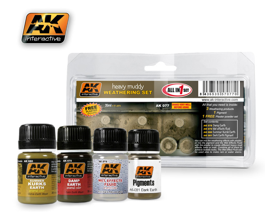 AK Interactive 077 Heavy Muddy Set  - 4 Bottles - 35ml each  plus 1 Plaster Powder Set