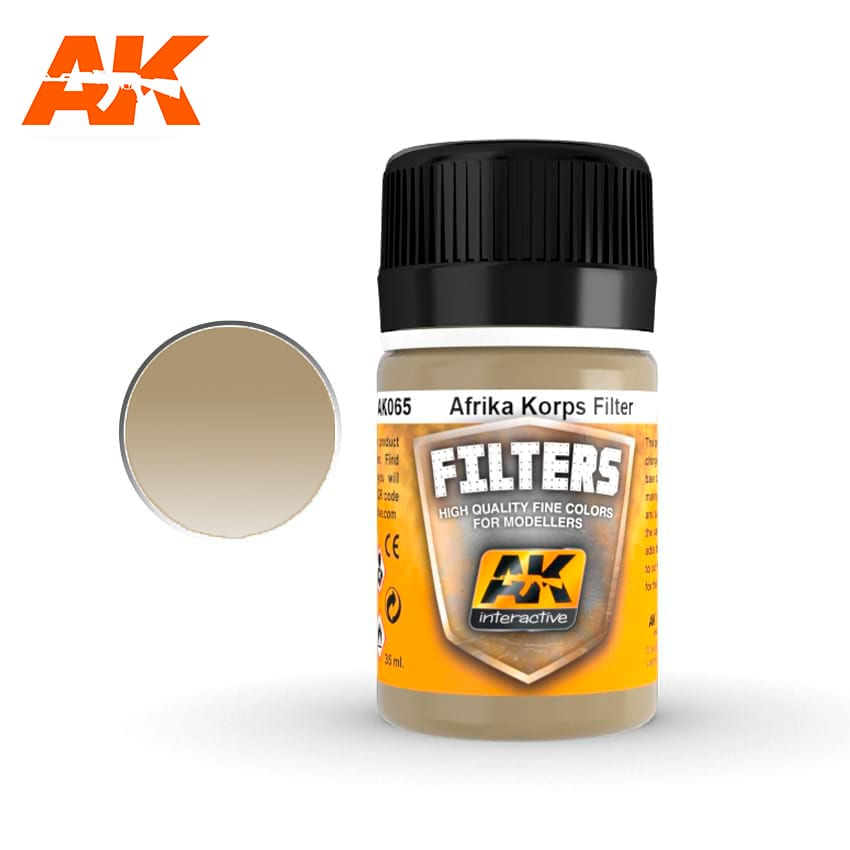 AK Interactive Afrika Korps Filter Enamel Paint 35ml Light Brown for Desert Yellow