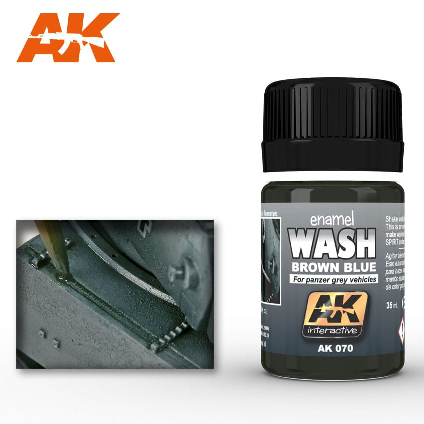 AK Interactive Brown Blue Wash Enamel Paint 35ml for Panzer Grey Vehicles