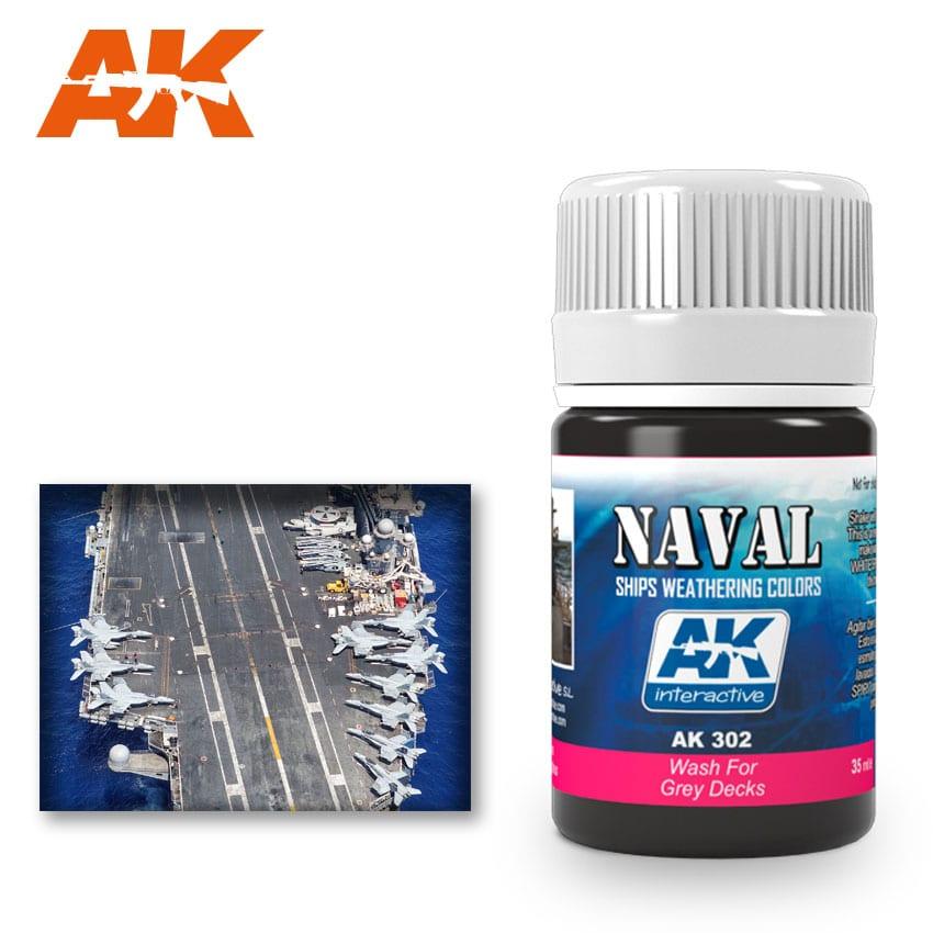AK Interactive 302 Grey Deck Wash Enamel Paint 35ml