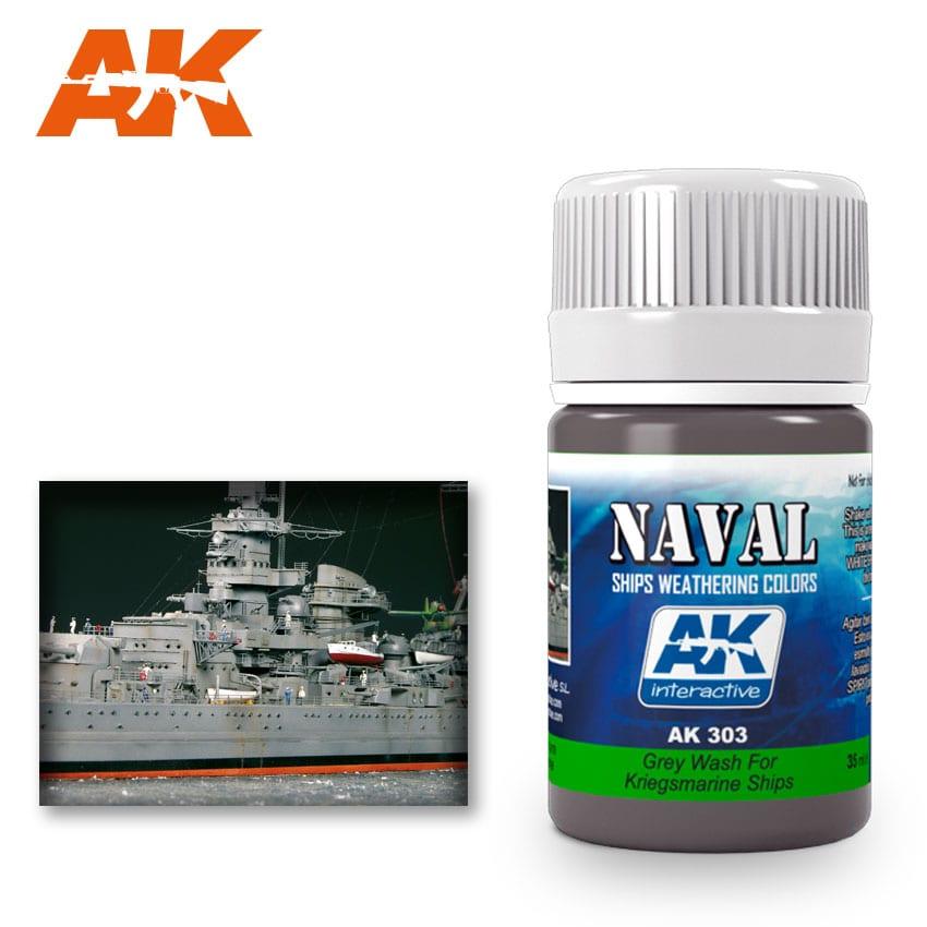 AK Interactive 303 Kriegsmarine Ship Grey Wash Enamel Paint 35ml