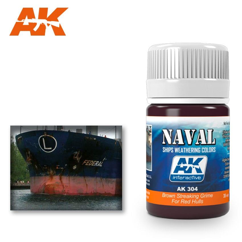 AK Interactive 304 Red Hulls Brown Streaking Grime Enamel Paint 35ml