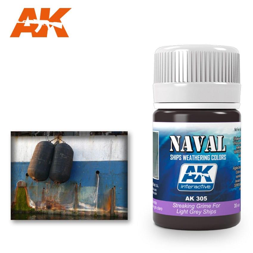 AK Interactive 305 Light Grey Ship Streaking Grime Enamel Paint 35ml