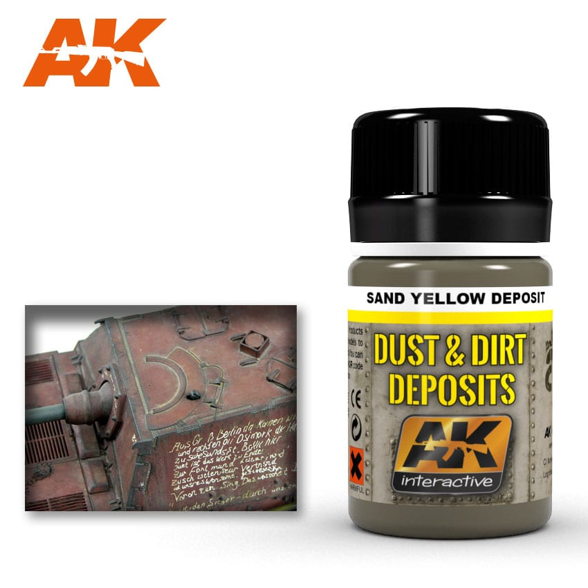 AK Interactive 4061 Dust and Deposit Sand Yellow Enamel Paint 35ml