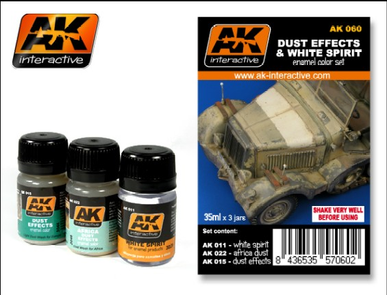 AK Interactive 60 Dust Effects & White Spirit Enamel Paint Set -011, 015, 022