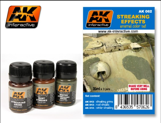AK Interactive 62 Streaking Effects Enamel Paint Set (12, 13, 14)