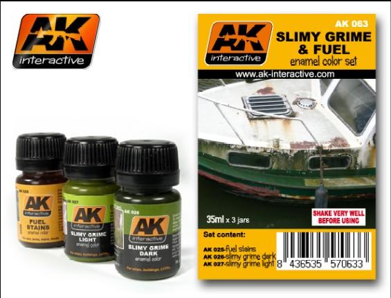AK Interactive 63 Slimy Grime & Fuel Stains Enamel Paint Set (25, 26, 27)